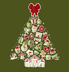 Christmas of tree with stickers vector