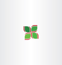 Red green four leaf abstract icon vector