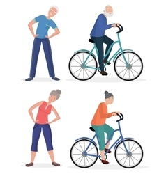 Fitness sport healthy old people grandparents vector