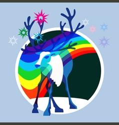 Aurora borealis deer vector