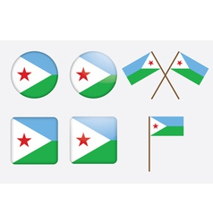 badges with flag of Djibouti vector image vector image