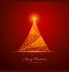 Beautiful creative christmas tree design on red vector