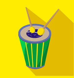 brazilian drum cartoon flat icon brazil vector image vector image