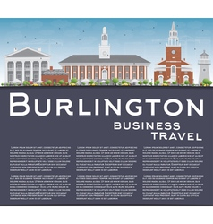 Burlington vermont city skyline with color buildin vector