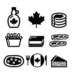 Canadian food icons - maple syrup poutine vector image