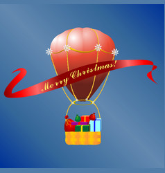 Christmas hot air baloon vector