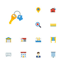 Flat icons real estate swimming depot and other vector