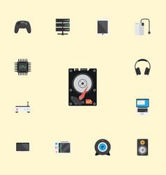 Flat icons slot machine monitor earphones and vector