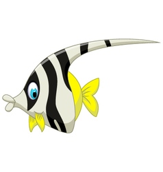 Funny black and white angel fish cartoon vector