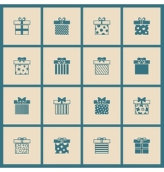 Gift boxes icons set in beige and blue vector