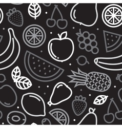 Greyscale fruits seamless pattern vector image