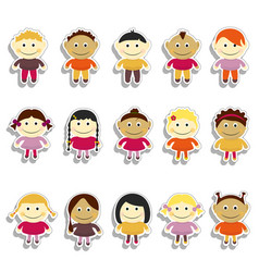 kids sticker set emoji vector image