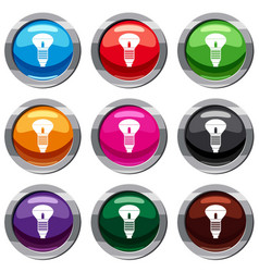led bulb set 9 collection vector image vector image
