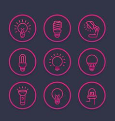 light bulbs icons set linear style vector image