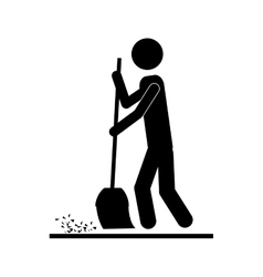Person with broom icon image vector