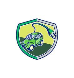 Plug-in hybrid electric vehicle retro shield vector