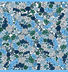 Seamless pattern flower and leaf in blue tones vector