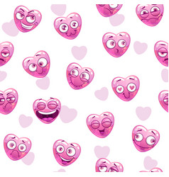 Seamless pattern with funny pink hearts vector