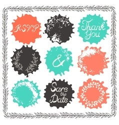 Set of 9 decorative wedding elements vector image vector image