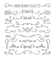 Set of silver textured hand drawn vignettes vector