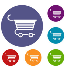 shopping trolley icons set vector image