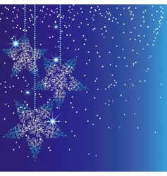 sparkling blue Christmas stars vector image