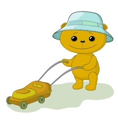Teddy bear lawnmower vector image
