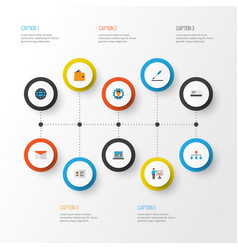 trade flat icons set collection of envelope pen vector image vector image