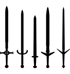 Silhouettes of medieval swords vector