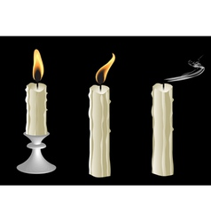Candles on black background vector image