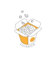 Take away lunch box with noodles chinese food and vector