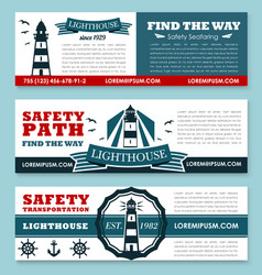 Lighthouse banners for safety seafaring vector