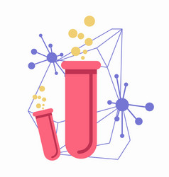 Pink flasks with connected chemical atoms on white vector