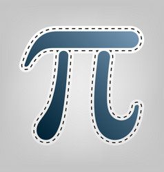pi greek letter sign  blue icon with vector image
