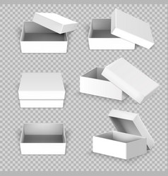 White empty square open box in different positions vector