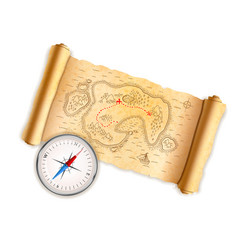 ancient pirate map on old paper with glossy vector image