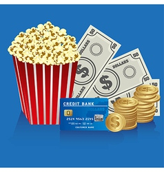 Popcorn with coins bills and credit card vector