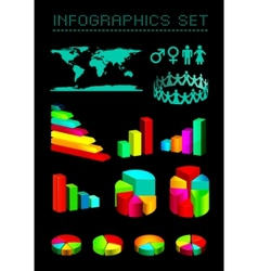 set of shiny graphics and diagrams vector image