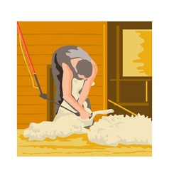 Farmer farmworker shearing sheep wpa vector