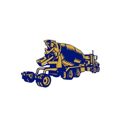 Cement Truck Rear Woodcut vector image