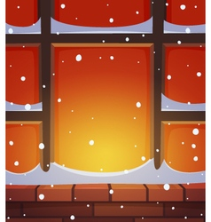 Retro window in snow vector