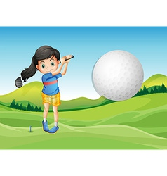 A young lady playing golf vector