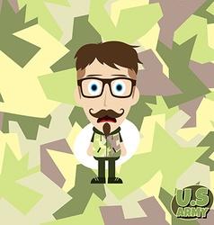 army camouflage cartoon guy vector image