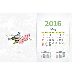 Calendar for 2016 may vector image vector image