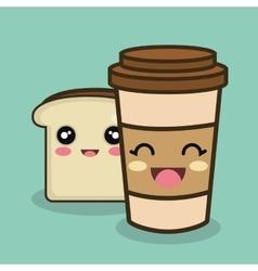 cartoon cup bread slice design vector image