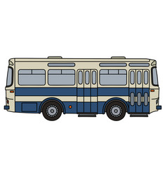 Classic blue and white bus vector