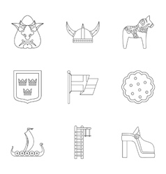 Country sweden icons set outline style vector