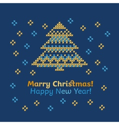 Cross stitch pattern of snow nad tree of new year vector