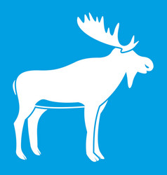 Deer icon white vector