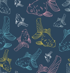 Different colored gol fishes seamless pattern vector image vector image